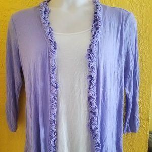 AGB Violet Faux Twin Set Shirt PLUS Size XL 16 18